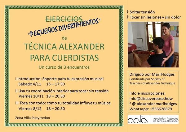 """""""Pequeños divertimientos"""" de Técnica Alexander para Cuerdistas"""